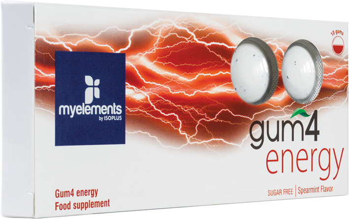 GUM4 ENERGY Guma de mestecat pentru energie, fara zahar, 10buc - myelements