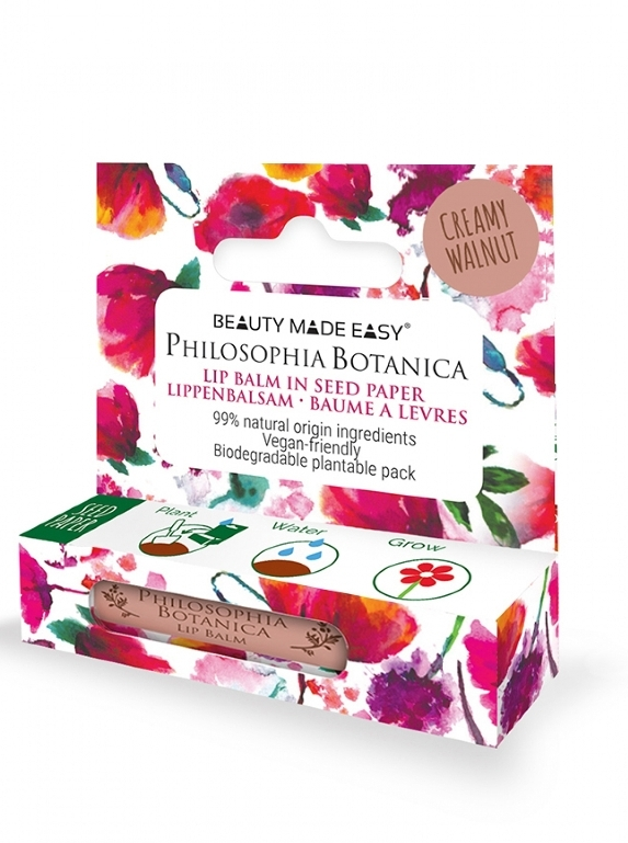 Balsam de buze colorat in ambalaj plantabil, Creamy Walnut - Beauty Made Easy