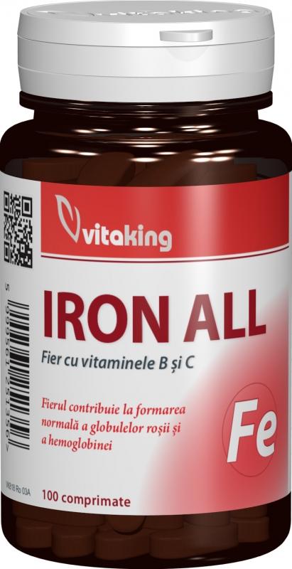 Fier cu vitaminele B si C, 100 comprimate - Vitaking