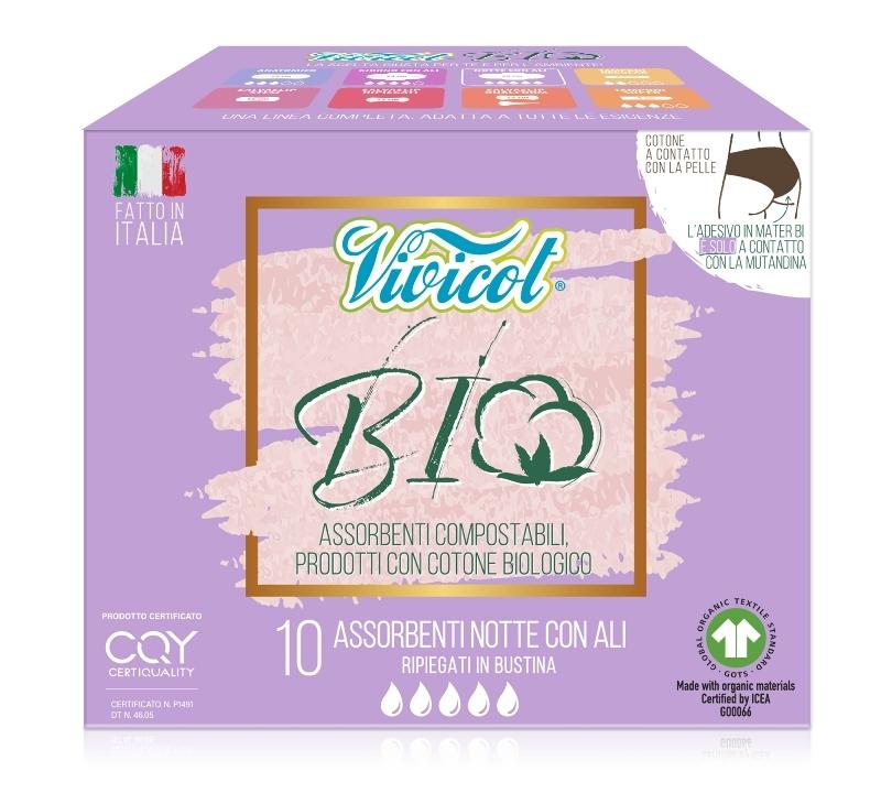 BIO Absorbante de noapte din bumbac organic cu aripioare, 10 buc - VIVICOT BIO