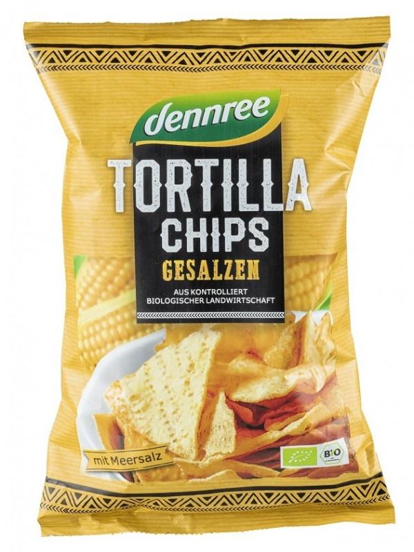 Chips tortilla BIO cu sare de mare, 125g - Dennree
