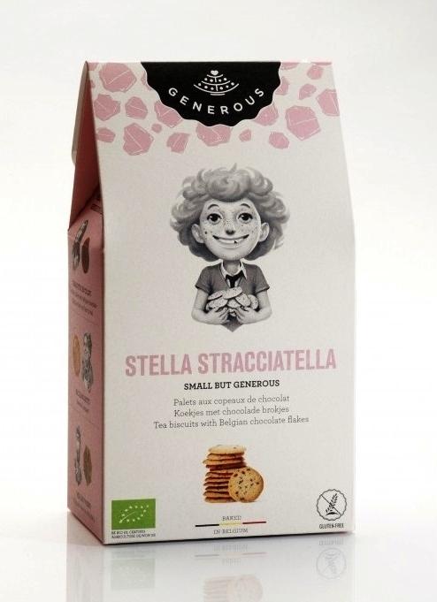 Biscuiti BIO  fara gluten cu fulgi de ciocolata belgiana Stella Stracciatella, 100g - Generous