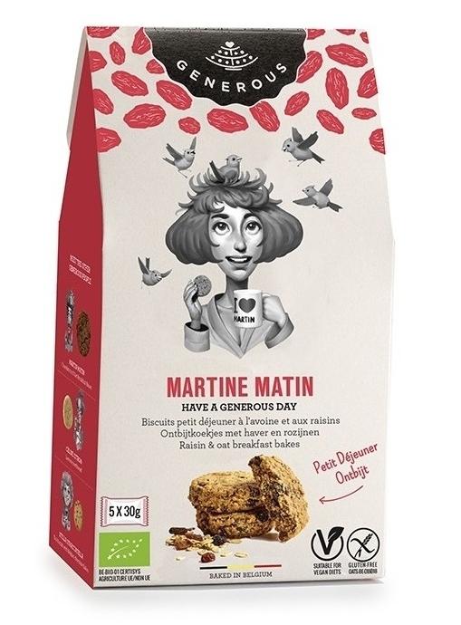 Biscuiti pentru mic dejun cu ovaz si stafide, fara gluten Martine Matin, 150g - Generous