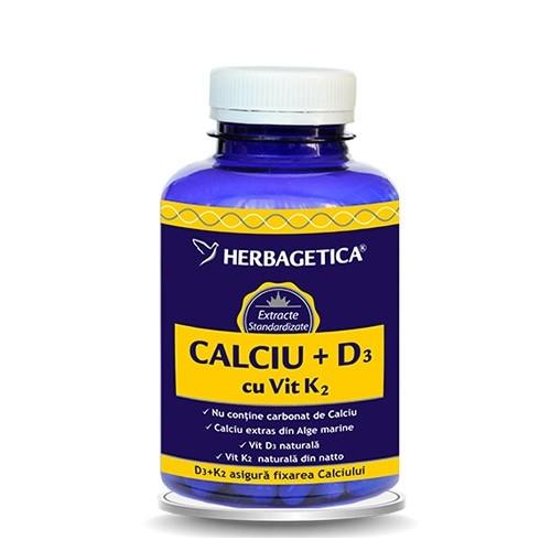 CALCIU + D3 cu vitamina K2, 30 capsule - HERBAGETICA