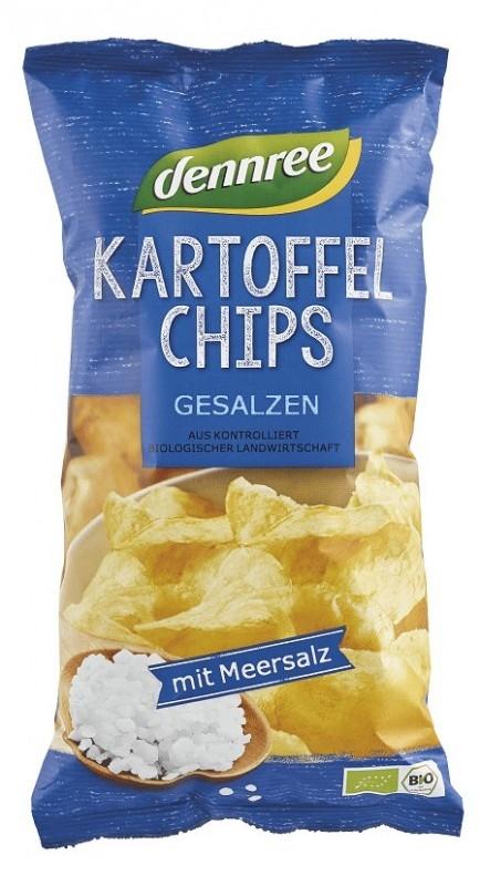 Chipsuri bio de cartofi cu sare, 125g - Dennree
