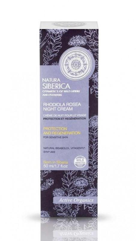 Crema de noapte protectoare regeneranta ten sensibil, Rhodiola Rosea, 50 ml - Natura Siberica
