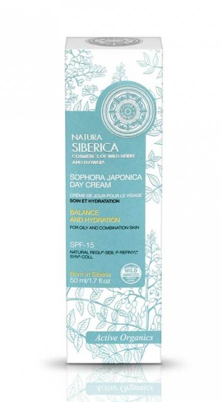 Crema de zi echilibranta ten mixt sau gras cu FPS 15, Sophora Japonica, 50 ml - Natura Siberica