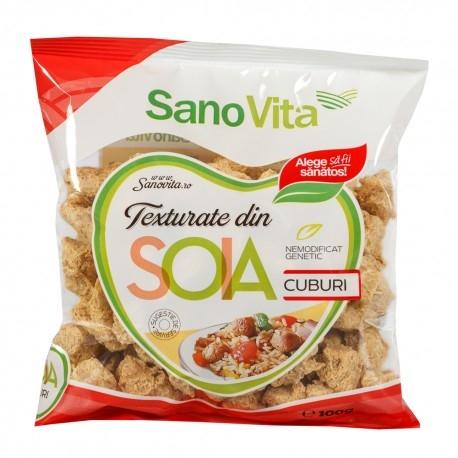 Cuburi de soia texturata, 100g - SanoVita