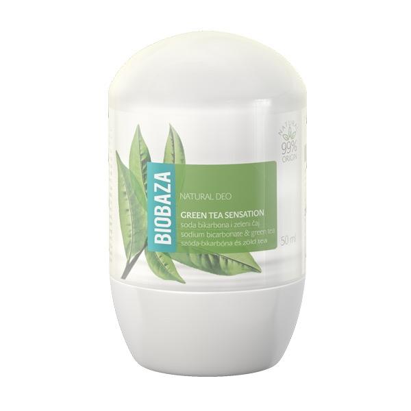 Deodorant natural pentru femei GREEN TEA SENSATION (ceai verde & bicarbonat) - BIOBAZA