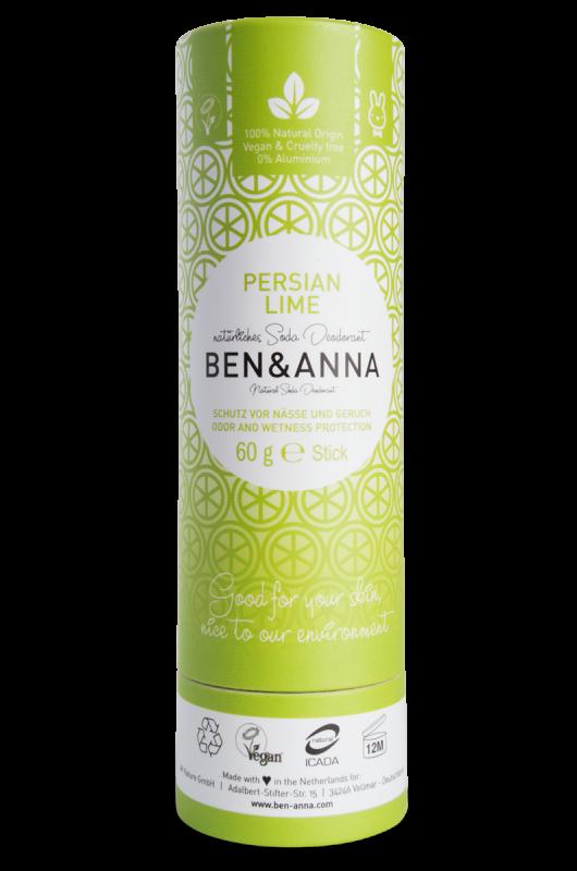 Deodorant stick cu bicarbonat Persian Lime, tub carton 60g - Ben & Anna