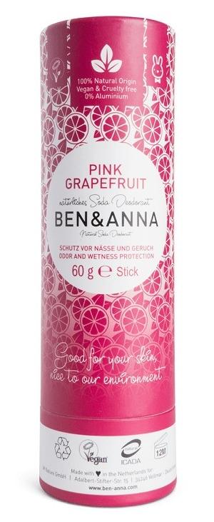Deodorant stick cu bicarbonat Pink Grapefruit, tub carton 60g - Ben & Anna