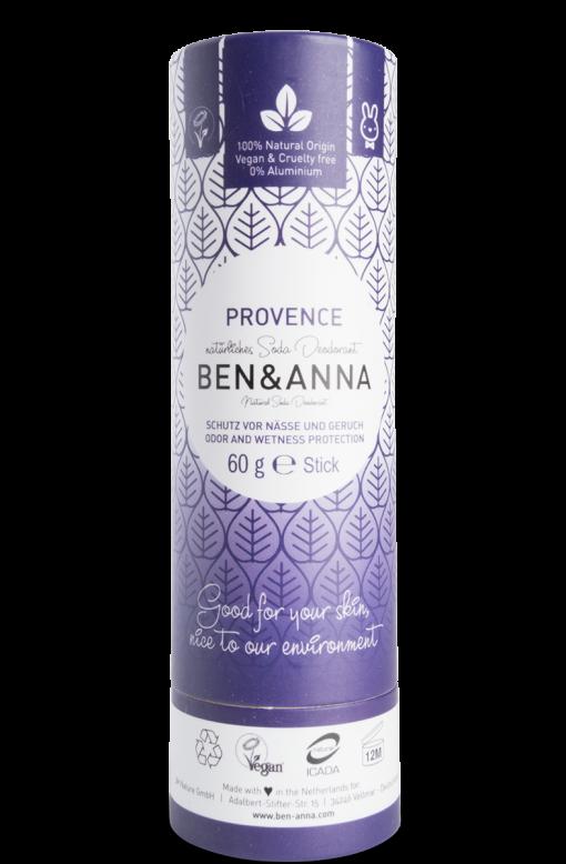 Deodorant stick cu bicarbonat Provence, tub carton 60g - Ben & Anna