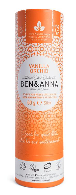 Deodorant stick cu bicarbonat Vanilla Orchid, tub carton 60g - Ben & Anna