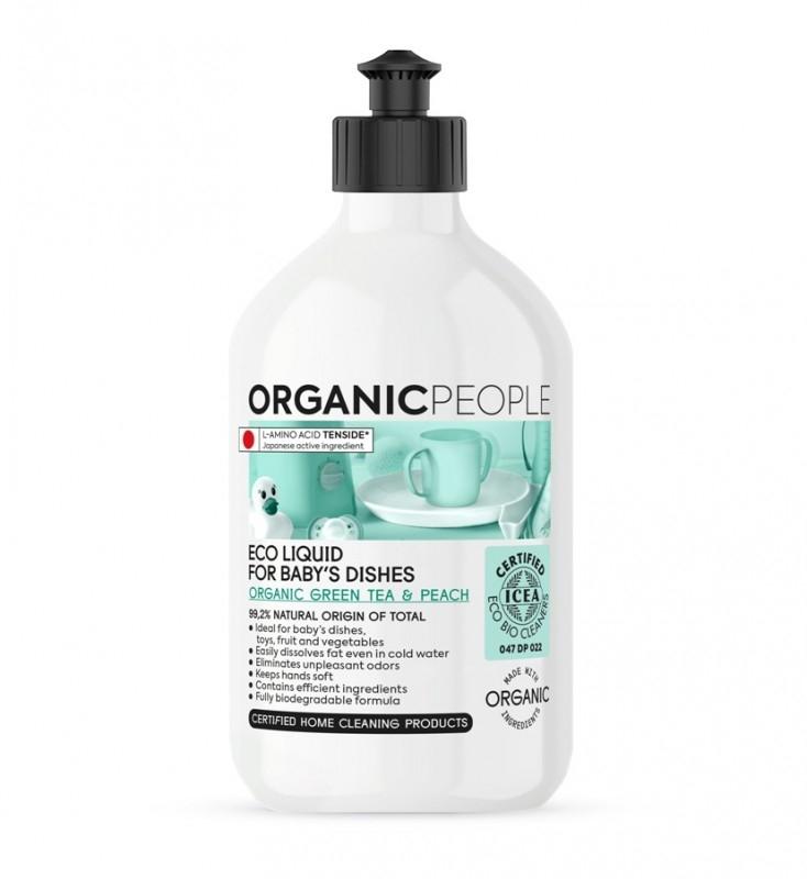 Detergent ecologic pentru vasele bebelusilor Green Tea & Peach, 500ml - Organic People
