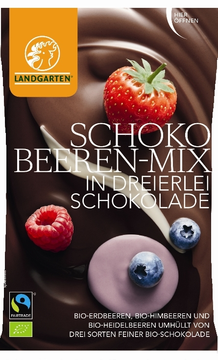 Fructe de padure in trei feluri de ciocolata, BIO, 50g - Landgarten