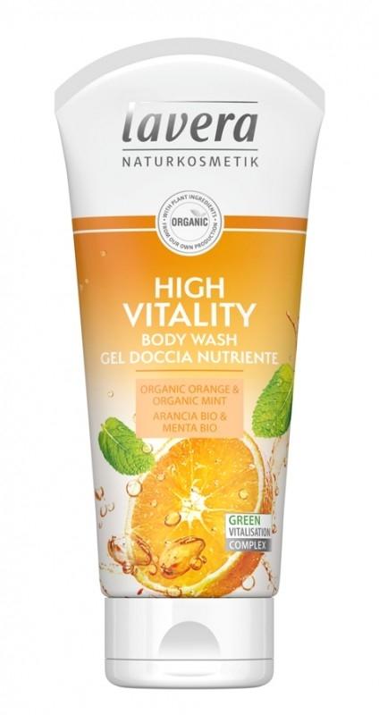 Gel de dus High Vitality cu portocale si menta, 200ml - LAVERA