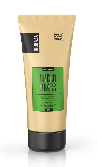 Gel de dus si sampon 2in1 pentru barbati GREEN GRASS (lemongrass), 220 ml - BIOBAZA