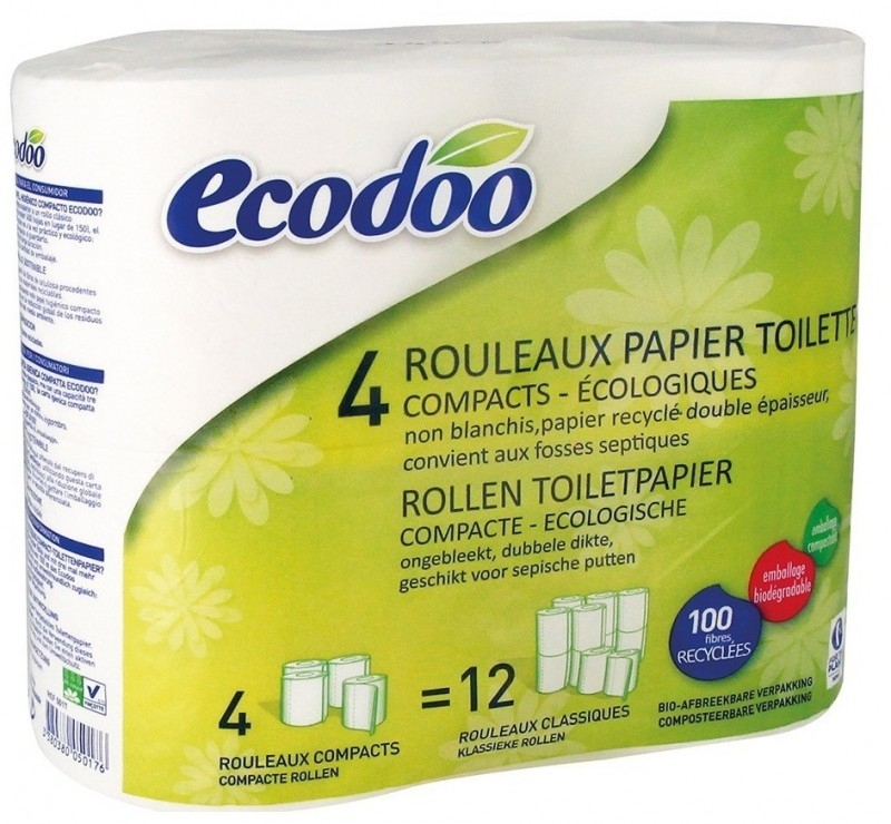 Hartie igienica ecologica, 4 role compacte - Ecodoo
