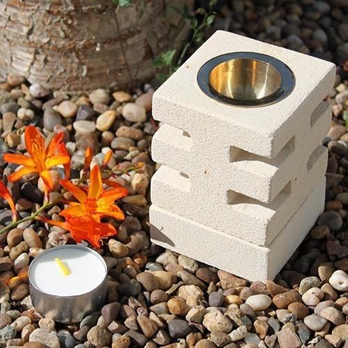 Lampa aromaterapie din piatra sculptata manual, Abstract Cuts - Ancient Wisdom
