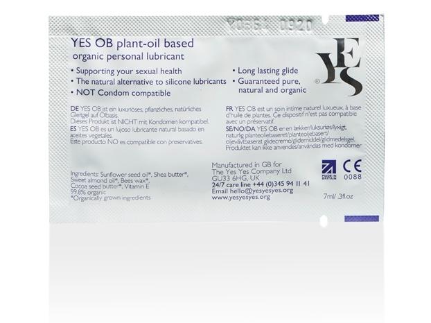 Lubrifiant organic pe baza de ulei, plic 7 ml - YES
