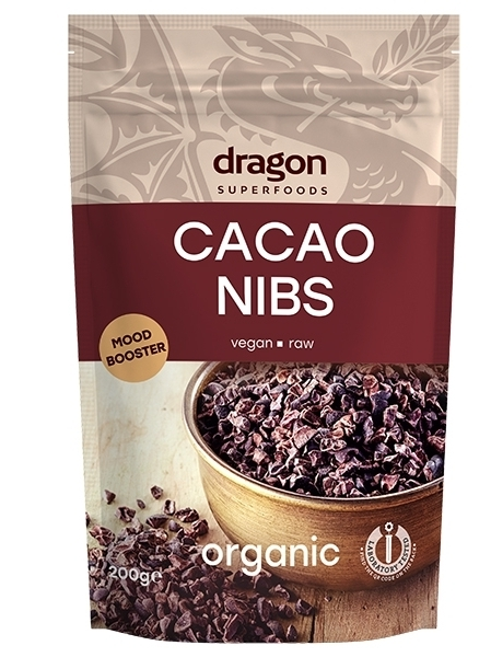 Miez din boabe de cacao bio (cacao nibs), 200g - Dragon Superfoods