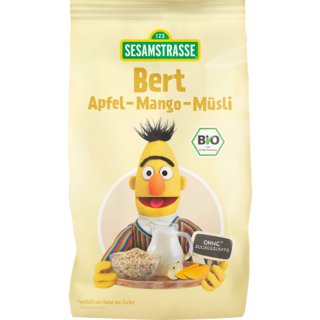 Musli bio pentru copii cu mere si mango Bert, 200g  - SesameStreet