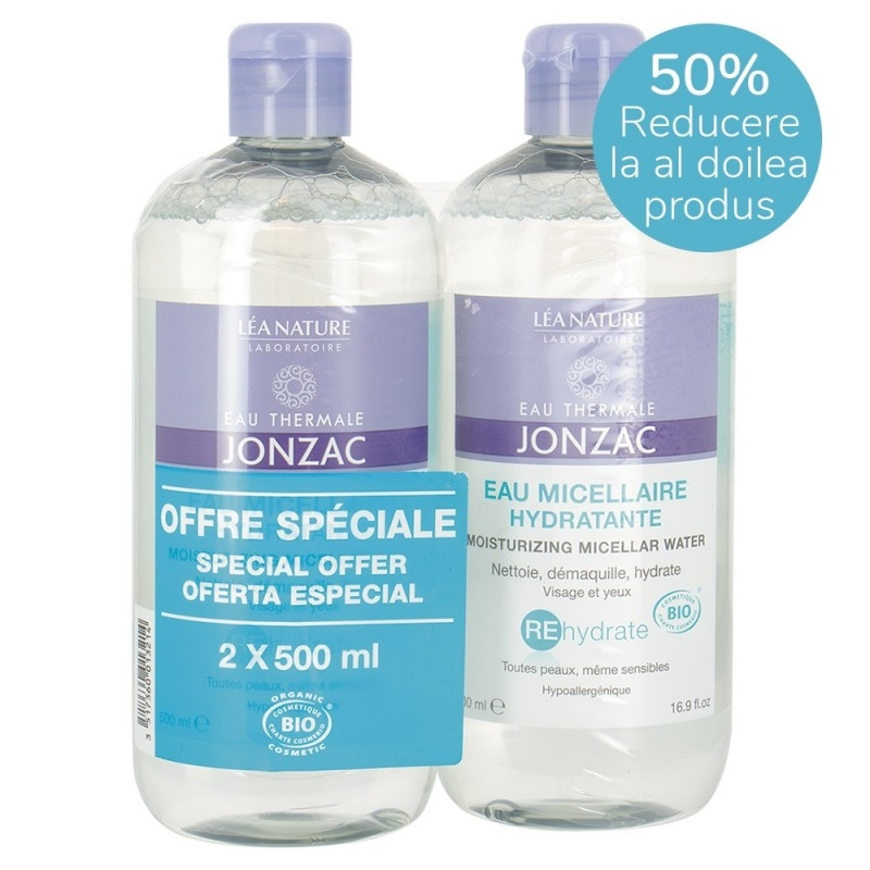 Pachet promo Apa micelara rehidratanta, toate tipurile de ten, REhydrate 2x500ml - JONZAC