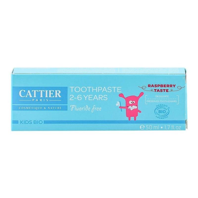 Pasta de dinti bio fara fluor, cu aroma de zmeura, copii 2-6 ani - CATTIER