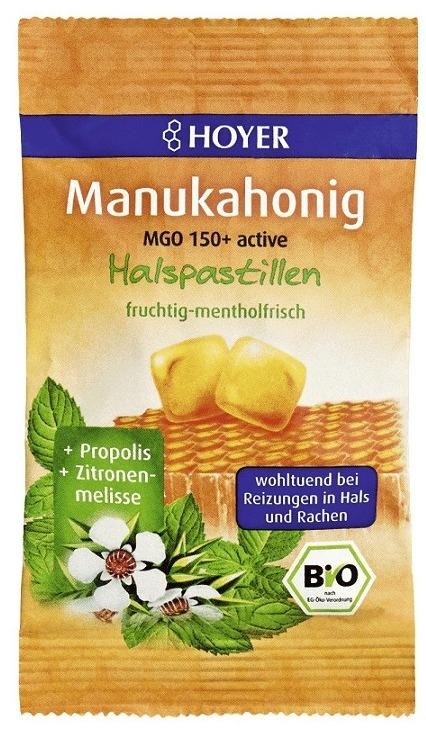 Dropsuri pentru gat cu miere de Manuka MGO 150+ si propolis, 30g - Hoyer