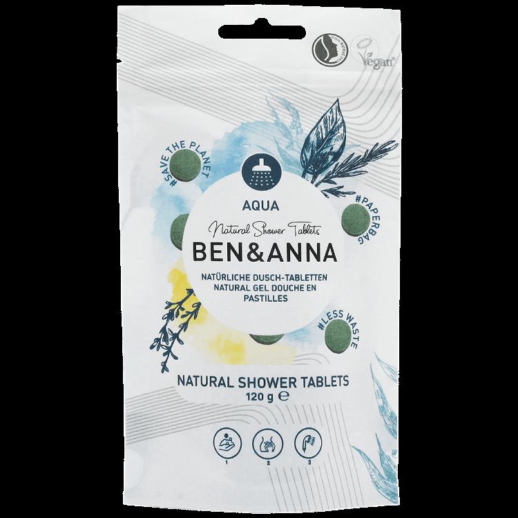 Pastile gel de dus natural vegan less waste AQUA, 120g - Ben & Anna