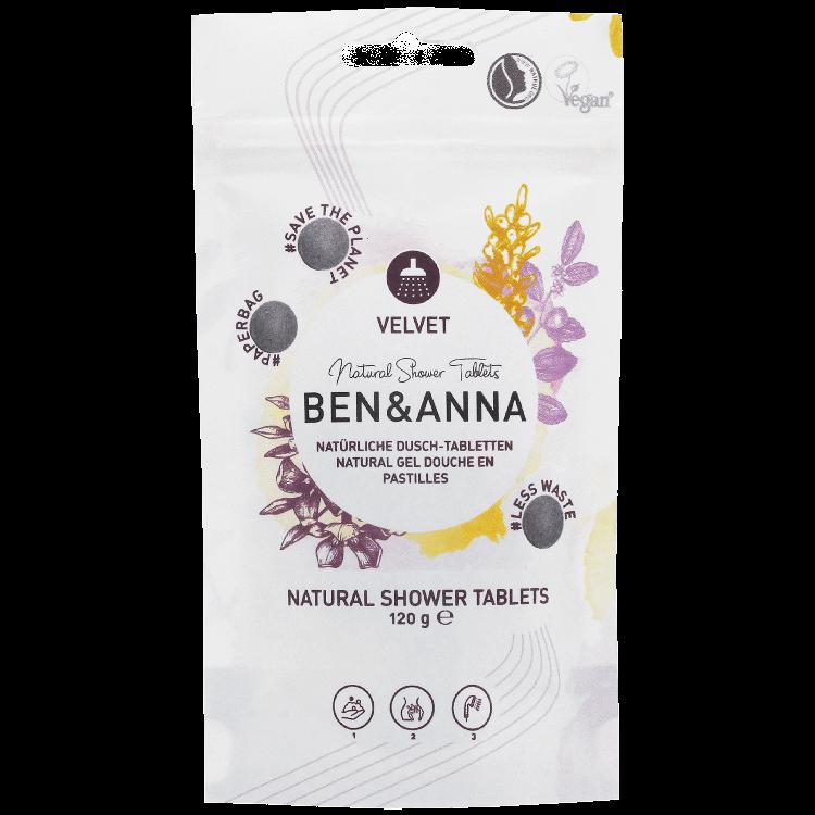 Pastile gel de dus natural vegan less waste VELVET, 120g - Ben & Anna