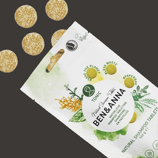 Pastile sampon natural vegan less waste TONIC, 120g - Ben & Anna