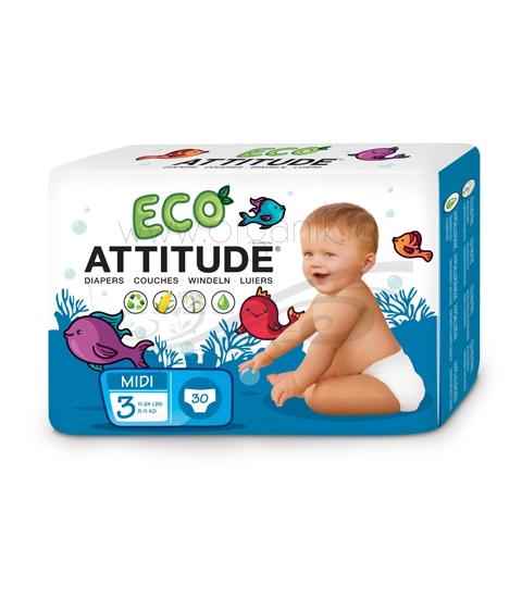 Scutece ecologice de unica folosinta marime 3 (5-11kg), 30 buc - ATTITUDE
