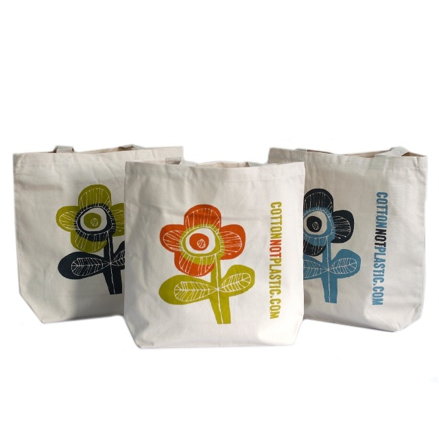 Sacosa de cumparaturi din bumbac Bright Flower, diverse culori