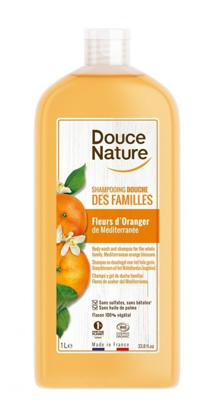 Sampon si gel de dus cu flori de portocal, format familial 1L - Douce Nature