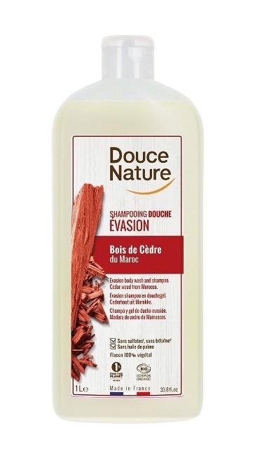 Sampon si gel de dus cu lemn de cedru Evasion, format familial 1L - Douce Nature