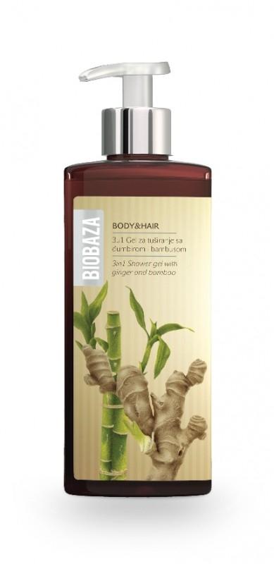 Sampon si gel de dus natural cu bambus si ghimbir, 400 ml - BIOBAZA