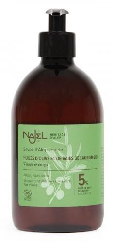 Sapun de Alep lichid BIO cu 5% ulei de dafin, 500 ml - NAJEL