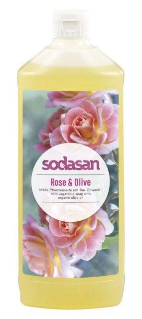 Sapun lichid-gel de dus Trandafir si ulei de masline, 1L - Sodasan