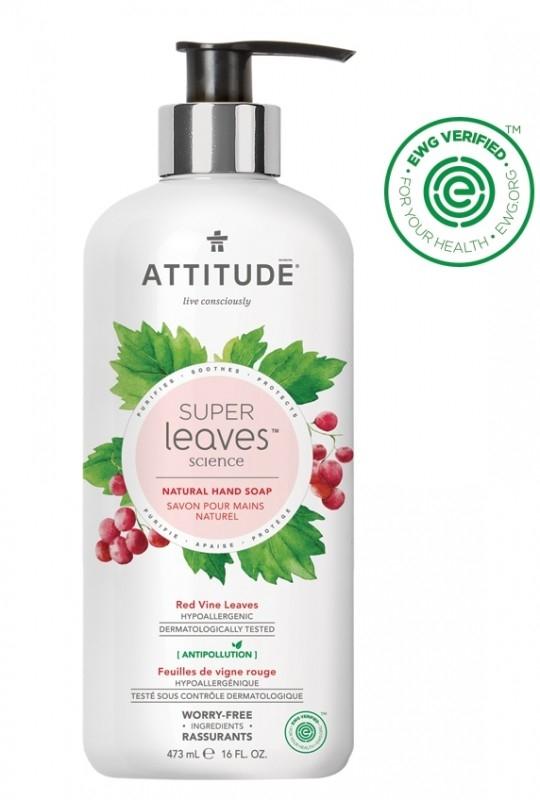 Sapun lichid cu extract din frunze de vita de vie rosie Superleaves, 473 ml - ATTITUDE