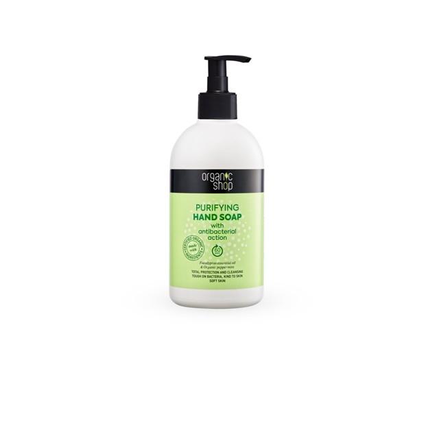 Sapun natural purificator cu efect antibacterian, menta si eucalipt, 500 ml - Organic Shop