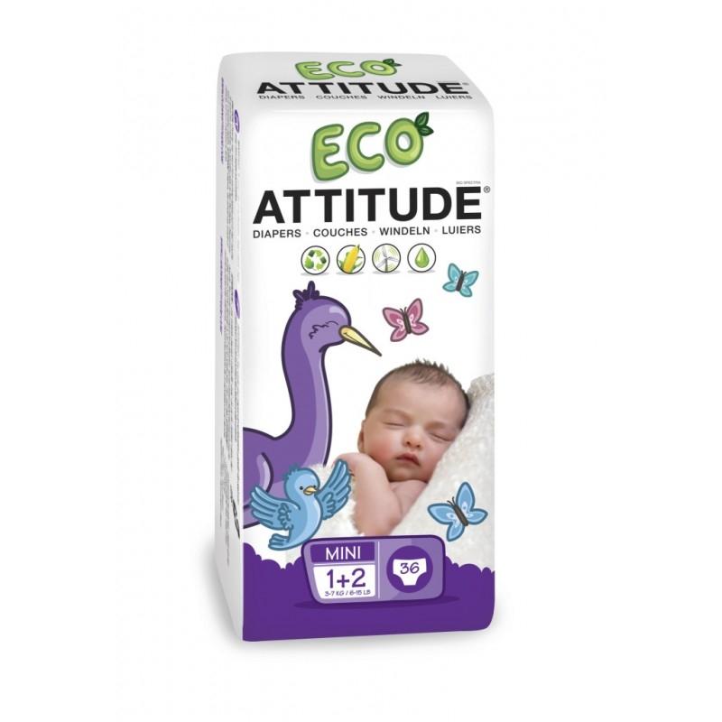 Scutece ecologice de unica folosinta, marime 1-2 (3-7 kg), 36 buc - ATTITUDE