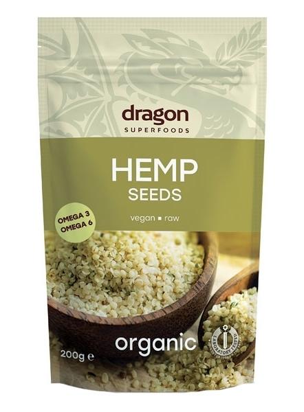 Seminte de canepa decorticate raw bio, 200g - Dragon Superfoods