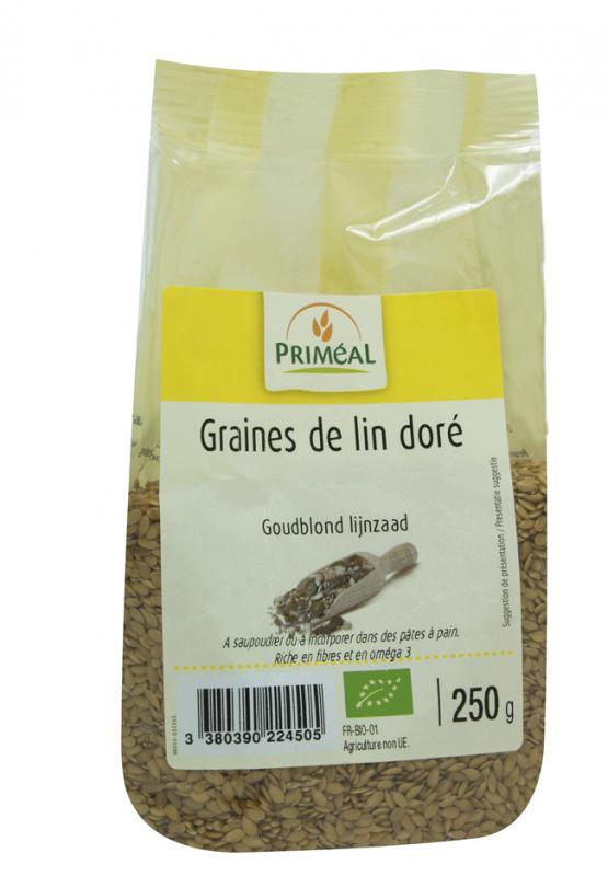 Seminte de in auriu bio, 250g - Primeal