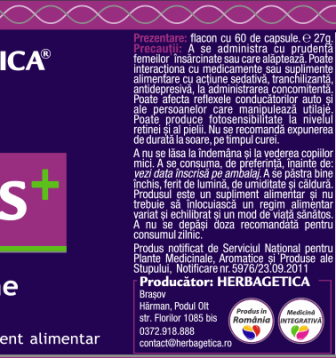 Serenis+, supliment natural pentru anxietate, 60 capsule - HERBAGETICA