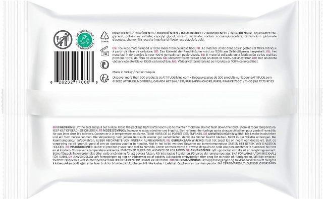 Servetele umede fara parfum, 100 % biodegradabile 72 buc - ATTITUDE