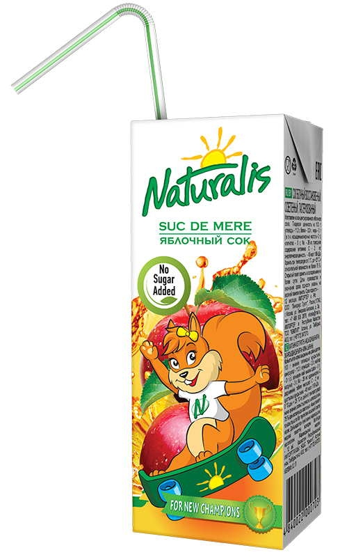 Suc natural de mere fara zahar, pentru copii, 200ml - Naturalis