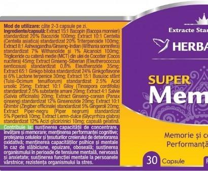Super Memorie, supliment natural memorie si concentrare, 30 capsule - HERBAGETICA