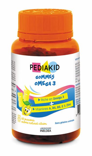 Supliment Omega 3 pentru copii cu aroma de lamaie, 60 jeleuri ursuleti - Pediakid