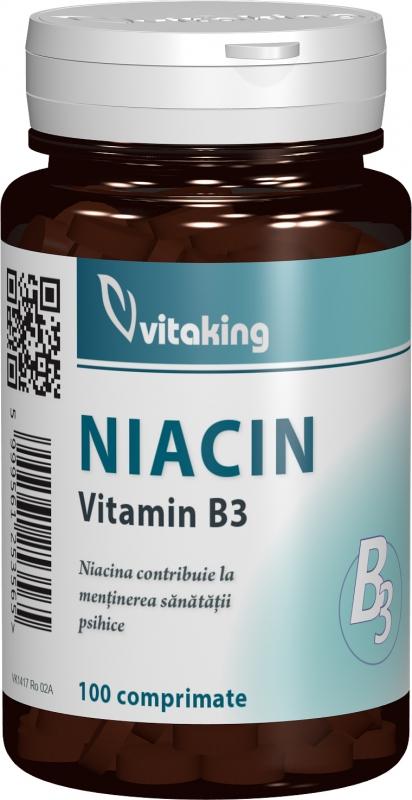 Vitamina B3 (Niacina) 100mg, 100 comprimate - Vitaking